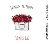 fashion accessory  flowers bag. ... | Shutterstock .eps vector #756711238