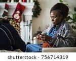a black elderly woman in... | Shutterstock . vector #756714319