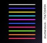 set of neon lamps. laser beams...   Shutterstock .eps vector #756720454