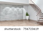 modern bright interiors empty... | Shutterstock . vector #756723619