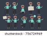 elderly character set  vector... | Shutterstock .eps vector #756724969