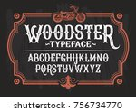 illustration of a vintage font ... | Shutterstock . vector #756734770