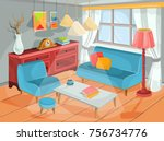 illustration of a cozy cartoon ... | Shutterstock . vector #756734776