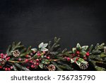 christmas design space wallpaper | Shutterstock . vector #756735790