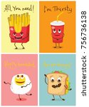 cartoon funny food characters... | Shutterstock .eps vector #756736138