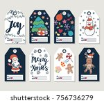 christmas and new year gift... | Shutterstock . vector #756736279