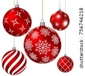 red christmas balls with... | Shutterstock .eps vector #756746218
