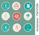 christmas gift tags. stickers... | Shutterstock .eps vector #756747298