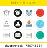 school and education icons set. ... | Shutterstock . vector #756748384