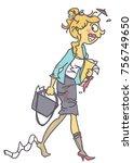 funny vector cartoon of messy... | Shutterstock .eps vector #756749650