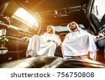 two arabian businessmen talking ...   Shutterstock . vector #756750808