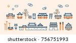 traditional korean style house | Shutterstock .eps vector #756751993