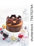fresh mousse cake  brown...   Shutterstock . vector #756752764
