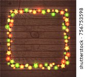 christmas and new year garland... | Shutterstock . vector #756753598