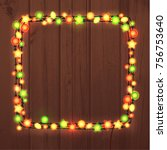 christmas and new year garland... | Shutterstock . vector #756753640