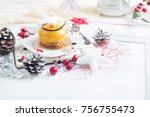 french mousse cake covered with ... | Shutterstock . vector #756755473