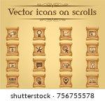 seo vector icons on scrolls for ... | Shutterstock .eps vector #756755578