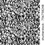 pattern of the people crowd | Shutterstock .eps vector #756758248