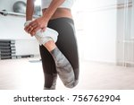 girl stretching her legs after... | Shutterstock . vector #756762904