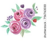 watercolor floral bouquet... | Shutterstock . vector #756763030