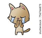 crying cartoon cat | Shutterstock .eps vector #756766873