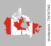 canada vector map with the flag | Shutterstock .eps vector #756767263