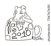 yellow dog for new year 2018 ... | Shutterstock .eps vector #756767650
