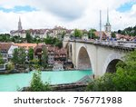 Small photo of BERN - SWITZERLAND : AUG 03'2017 : The Old City is the medieval city center of Bern, Switzerland. Built on a narrow hill surrounded on three sides by the river Aare.