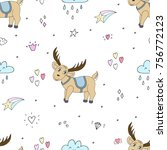 cute hand drawn vector pattern... | Shutterstock .eps vector #756772123