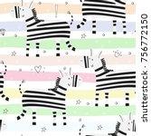 cute hand drawn funny zebra...   Shutterstock .eps vector #756772150