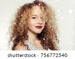 winter  christmas  people ... | Shutterstock . vector #756772540