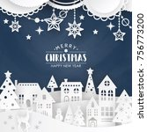 christmas background with... | Shutterstock .eps vector #756773200