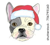 christmas greeting card. pug... | Shutterstock . vector #756795160