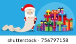 santa claus reads the list ... | Shutterstock .eps vector #756797158