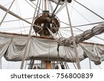 the detail of the tall ship  | Shutterstock . vector #756800839