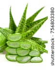 Small photo of Slice Aloe Vera (Aloe barbadensis Mill.,Star cactus, Aloe, Aloin, Jafferabad or Barbados) a very useful herbal medicine for skin care and hair care.