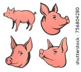set of pig heads isolated on... | Shutterstock .eps vector #756804280