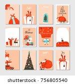hand drawn vector abstract big... | Shutterstock .eps vector #756805540