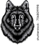 wolf head illustration | Shutterstock .eps vector #756809998