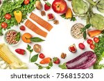 overhead photo of fresh food ... | Shutterstock . vector #756815203