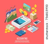 isometric accounting... | Shutterstock .eps vector #756815950