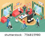 nursing home interior with... | Shutterstock .eps vector #756815980