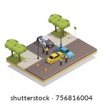 road collision at intersection... | Shutterstock .eps vector #756816004