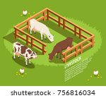livestock including cows in... | Shutterstock .eps vector #756816034