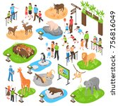 city zoo isometric set with... | Shutterstock .eps vector #756816049