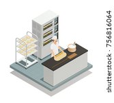bakery isometric composition... | Shutterstock .eps vector #756816064
