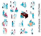 medical care isometric set of... | Shutterstock .eps vector #756817444