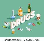 drugs isometric composition...   Shutterstock .eps vector #756820738