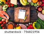healthy food concept. fresh ... | Shutterstock . vector #756821956