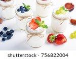 fresh yogurt. breakfast with... | Shutterstock . vector #756822004